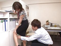 Ai Komori and her coworker are in the office working on a project together. Ai keeps looking for files and her coworker uses every opportunity to check out that hot arse of hers. That babe gets a run in her pantyhose and he comes to check it out, then hikes her skirt, rubs her, and starts nailing her.