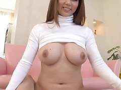Horny Asian with large perky boobs thrills with moist blowjob